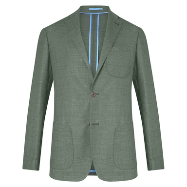 Green Unlined Single-Breasted Patch Pocket Jacket
