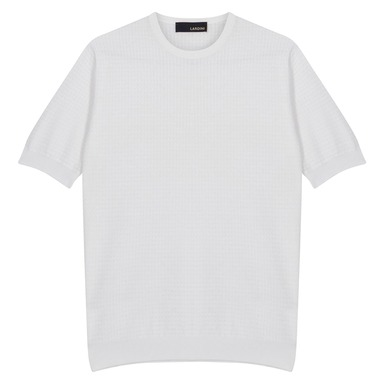 White Cotton Knitted Crew Neck T-Shirt