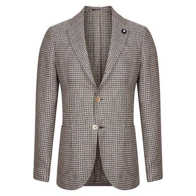 Navy & Beige Houndstooth Silk & Linen Jacket