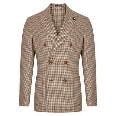 Brown Houndstooth Double-Breasted Silk & Wool Jacket