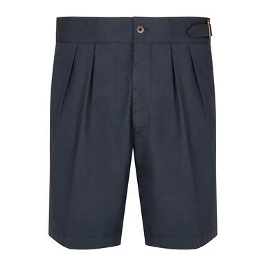 Navy Cotton Pleated Shorts