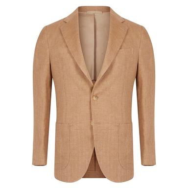 Light Brown Linen Single-Breasted Posillipo Jacket