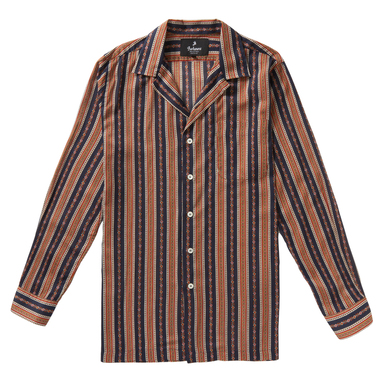 Blue and Red Japanese Cotton Western Pattern Burt Long-Sleeved Shirt
