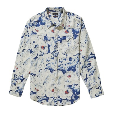 Blue Cotton Handprinted Japanese Tigers Western Shirt