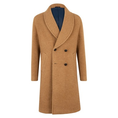 Camel Virgin Wool Shawl Collar Double-Breasted Robbie Overcoat