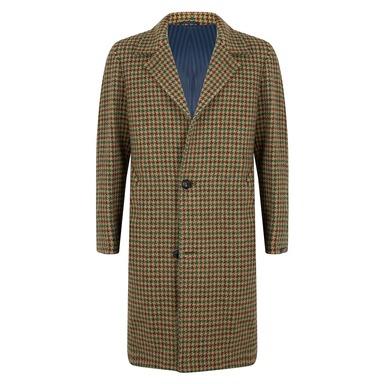 Beige and Green Virgin Wool Macro Raglan Shoulder Single-Breasted Douglas Overcoat