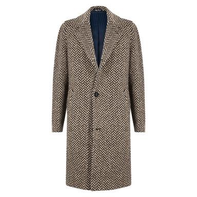 Beige and Brown Virgin Wool Macro Herringbone Single-Breasted Douglas Overcoat