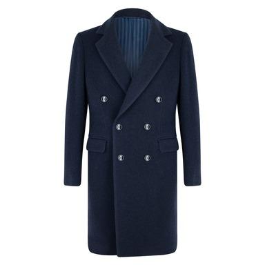 Navy Virgin Wool Double-Breasted Roger Overcoat
