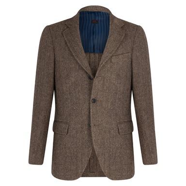 Cream and Brown Virgin Wool Herringbone Unlined Andy Jacket