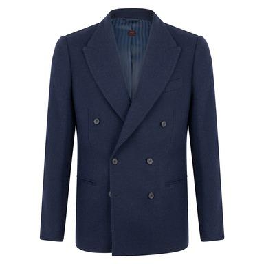 Navy Virgin Wool Lined Double-Breasted Helmut Jacket