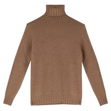 Brown Lambswool Honeycombe Sweater