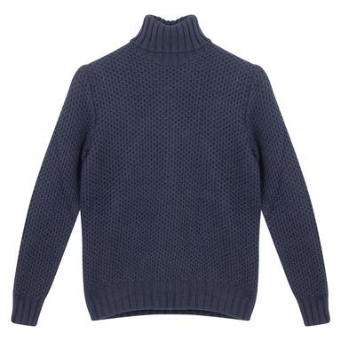 Blue Lambswool Honeycombe Sweater