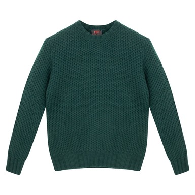 Green Lambswool Honeycombe Sweater
