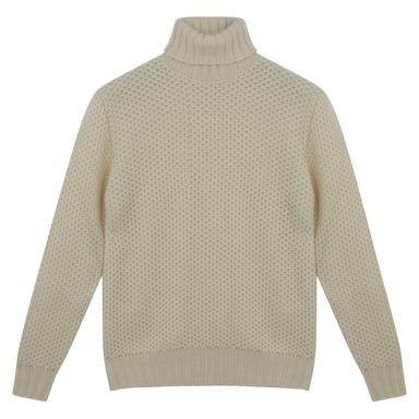 White Lambswool Honeycombe Sweater