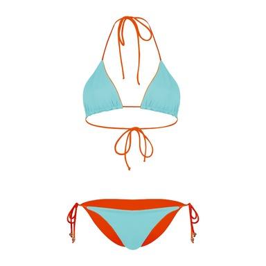 Aqua & Orange Reversible Capo Bikini
