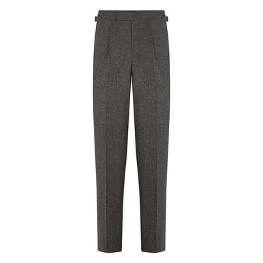 Brown Wool Flannel Textured Single-Pleated Duke Trousers