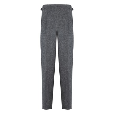 Grey Wool Flannel Textured Single-Pleated Duke Trousers