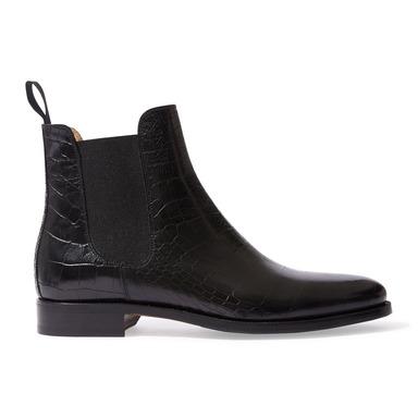Black Crocodile Print Calfskin With Black Elastic Giancarlo Chelsea Boots