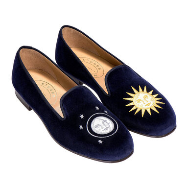 Blue Embroidered Night and Day Velvet Slippers